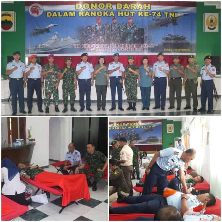 DONOR DARAH DALAM RANGKA HUT KE-74 TNI TAHUN 2019 DI WILAYAH MEDAN