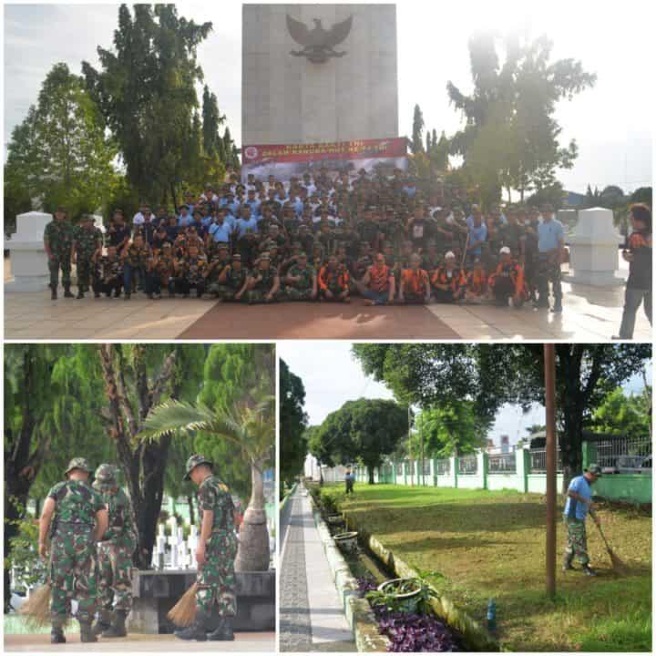 HORMATI JASA PARA PAHLAWAN, PRAJURIT TNI WILAYAH MEDAN GELAR KARYA BAKTI BERSIHKAN TAMAN MAKAM PAHLAWAN BUKIT BARISAN