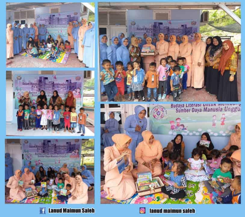 Pengurus Pia Ardhya Garini dan Yasarini Lanud Maimun Saleh Berikan Bantuan Buku Cerita ke PAUD Angkasa