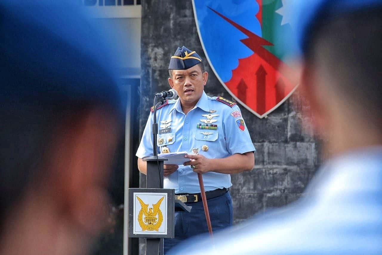 Kolonel Pnb Andi Wijanarko Pimpin Upacara Bendera Pertamanya di Lanud RHF