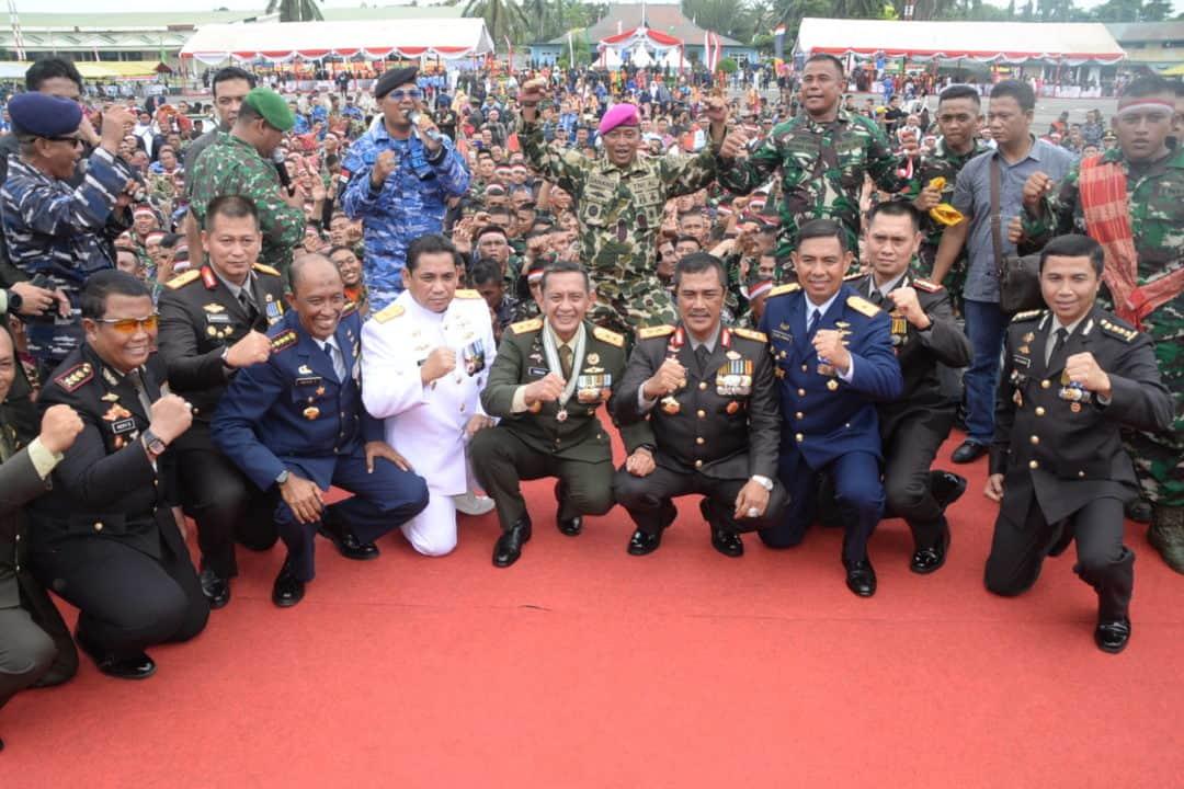 Peringatan HUT Ke-74 TNI Di Apron Bravo Lanud Soewondo