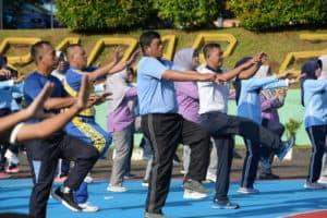 Jalin Silaturahmi, Prajurit Lanud RHF dan Unsur TNI Polri Olahraga Bersama