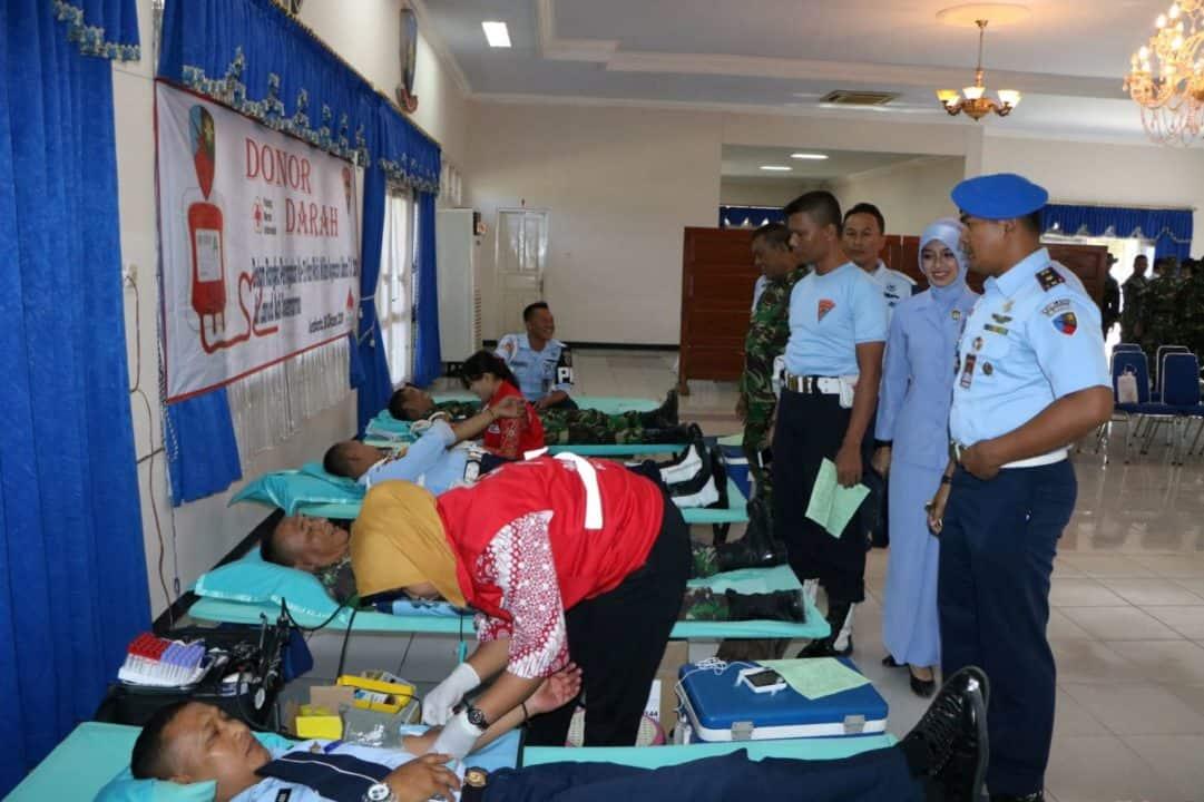 Peringati HUT Ke-73 Polisi Militer, Satpom Lanud Smo Sumbangkan Darah