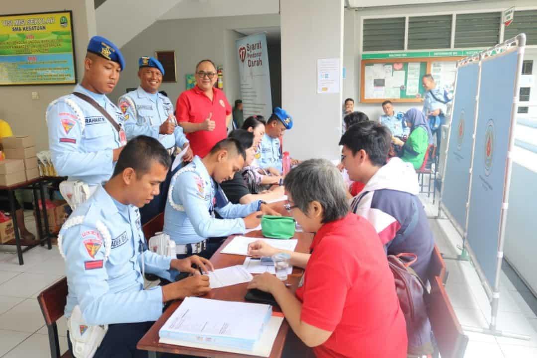 Sambut HUT ke-73, Satpom Lanud Ats Bekerjasama Dengan Himpunan Alumni Kesatuan Bogor Adakan Donor Darah