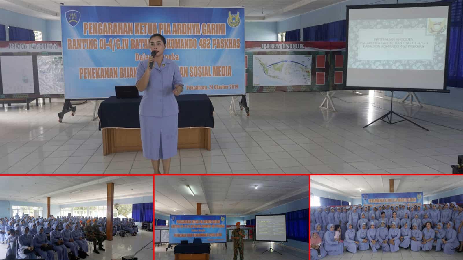 Ketua PIA AG Ranting 01-4/G.IV Yonko 462 Paskhas Berikan pengarahan Bijak Menggunakan Sosial Media