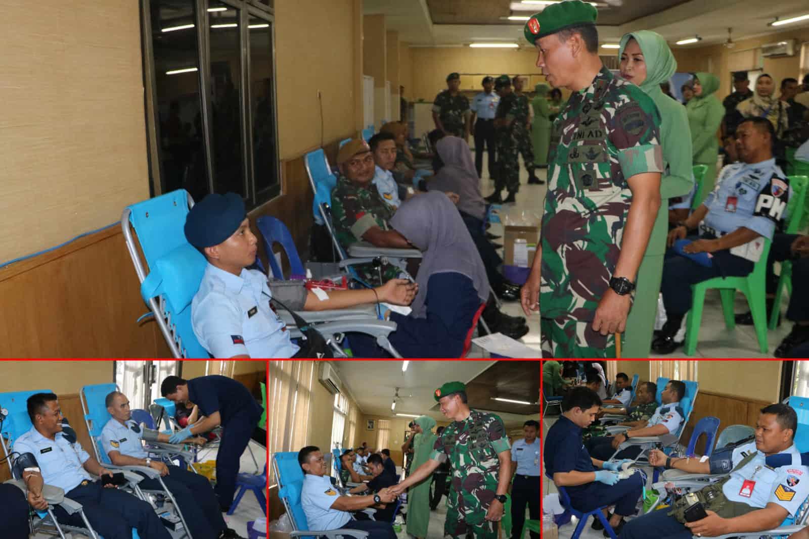 HUT TNI ke-74, Personel Lanud Rsn Donorkan Darah