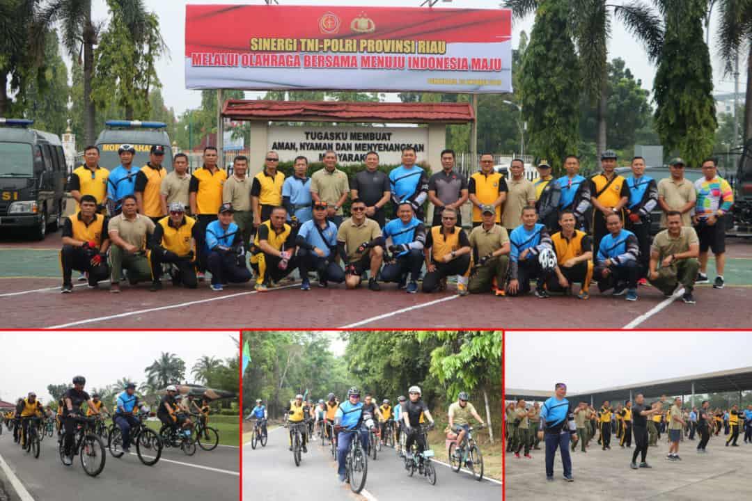 Tingkatkan Sinergitas, TNI-Polri di Pekanbaru Olahraga Bersama