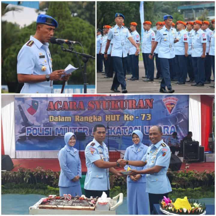 Upacara Memperingati HUT Ke-73 Polisi Militer Angkatan Udara Di Medan