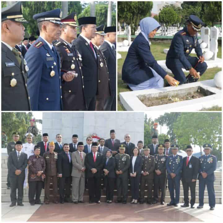 Danlanud Soewondo Mengikuti Ziarah Nasional Dalam Rangka Hari Pahlawan Di TMP Bukit Barisan Medan