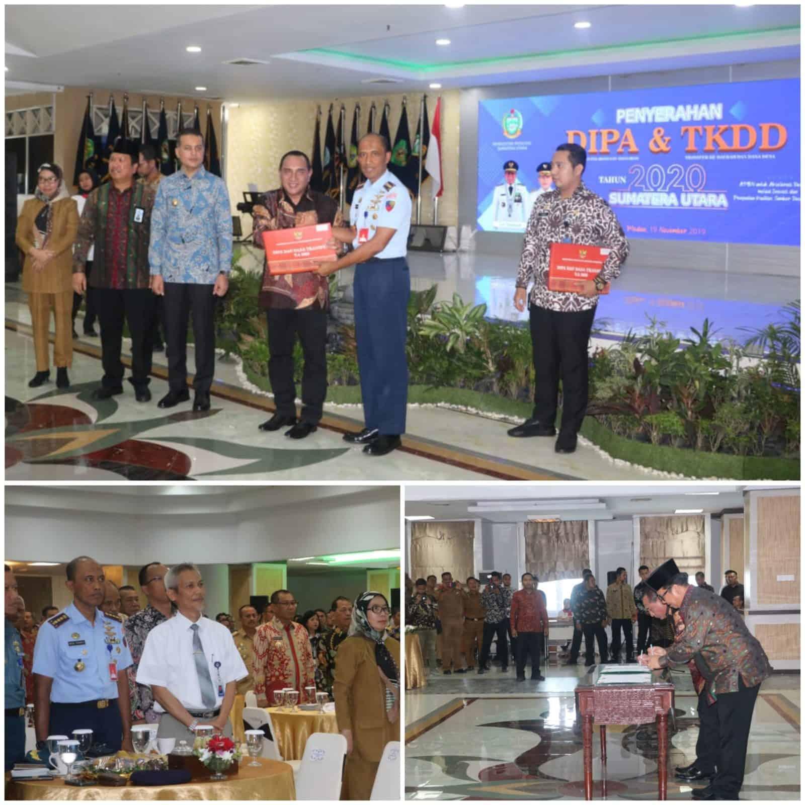 Danlanud Menerima DIPA Anggaran Lanud Soewondo TA 2020 Dari Gubernur Sumut