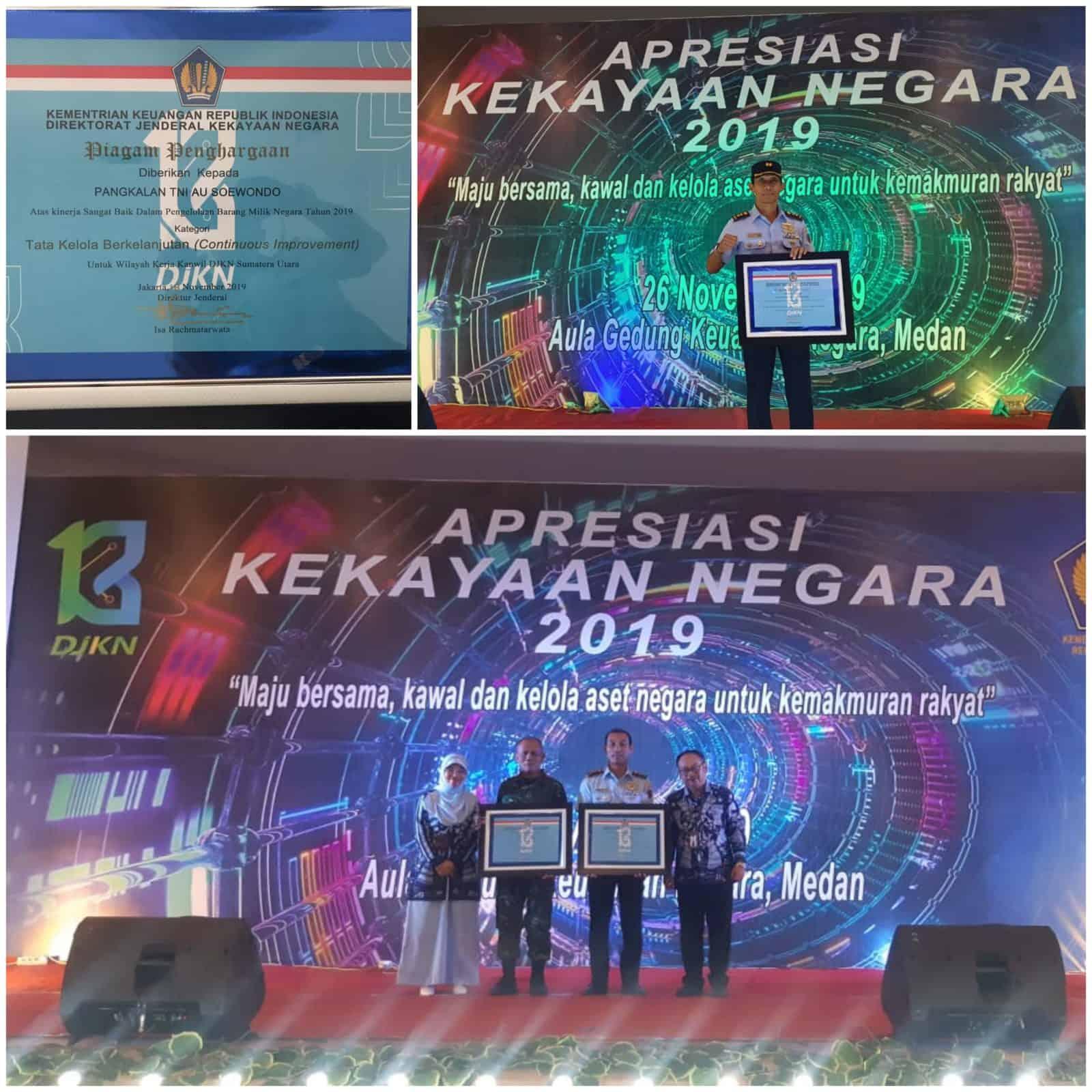 Lanud Soewondo Menerima Piagam Penghargaan Kinerja Sangat Baik Dalam Pengelolaan BMN Dari Dirjen Kekayaan Negara
