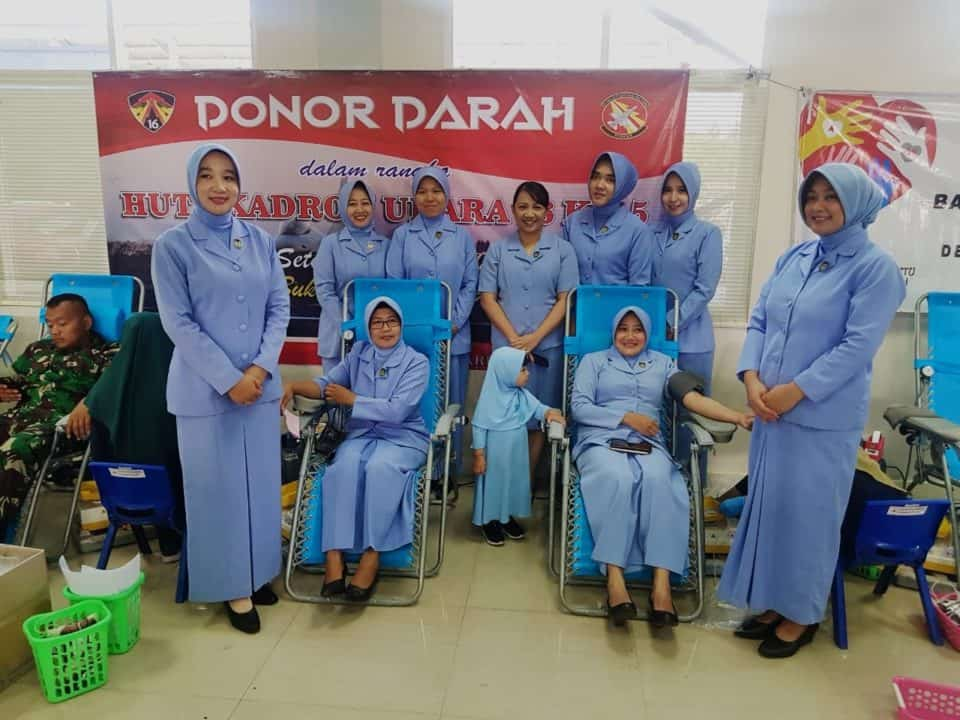 Donor Darah Peringati HUT Ke-5 Skadron Udara 16
