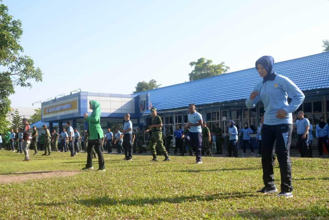 Lanud Sjamsudin Noor Olahraga Bersama Kodim 1006 Martapura