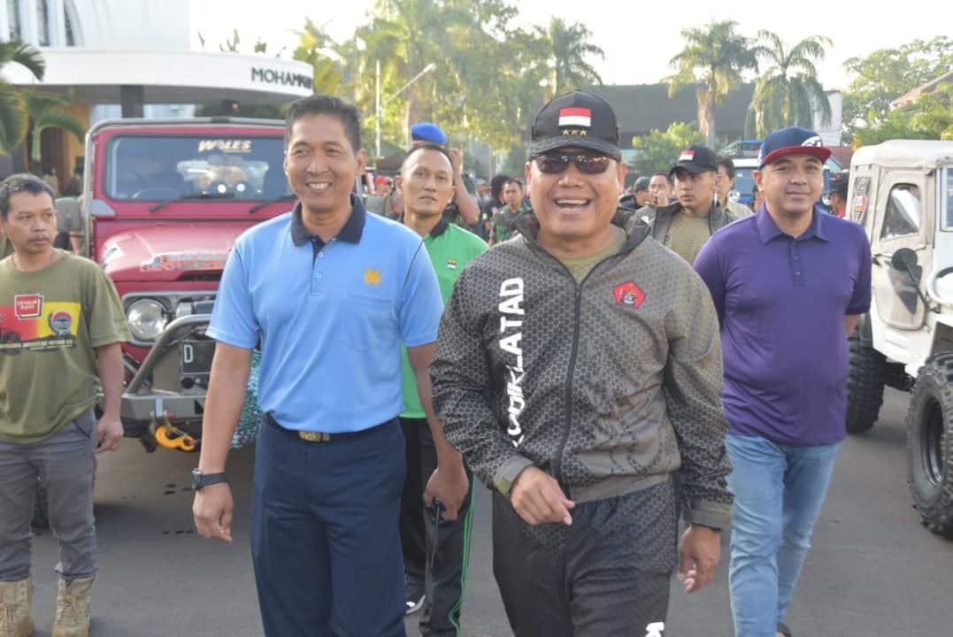 Pelepasan Komunitas Offroad Warnai Kegiatan Olahraga Bersama TNI Polri