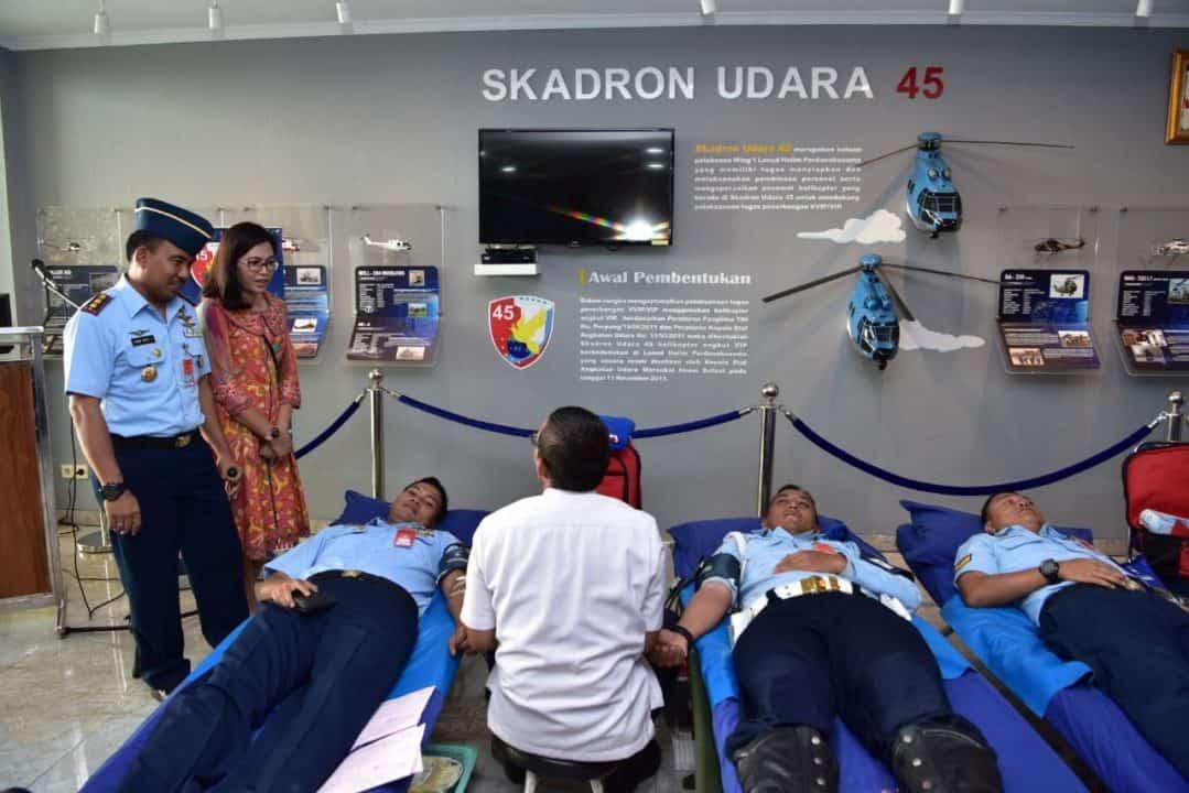 Peringati Hari Jadi Ke-8, Skadron Udara 45 Lanud Halim Perdanakusuma Gelar Donor Darah