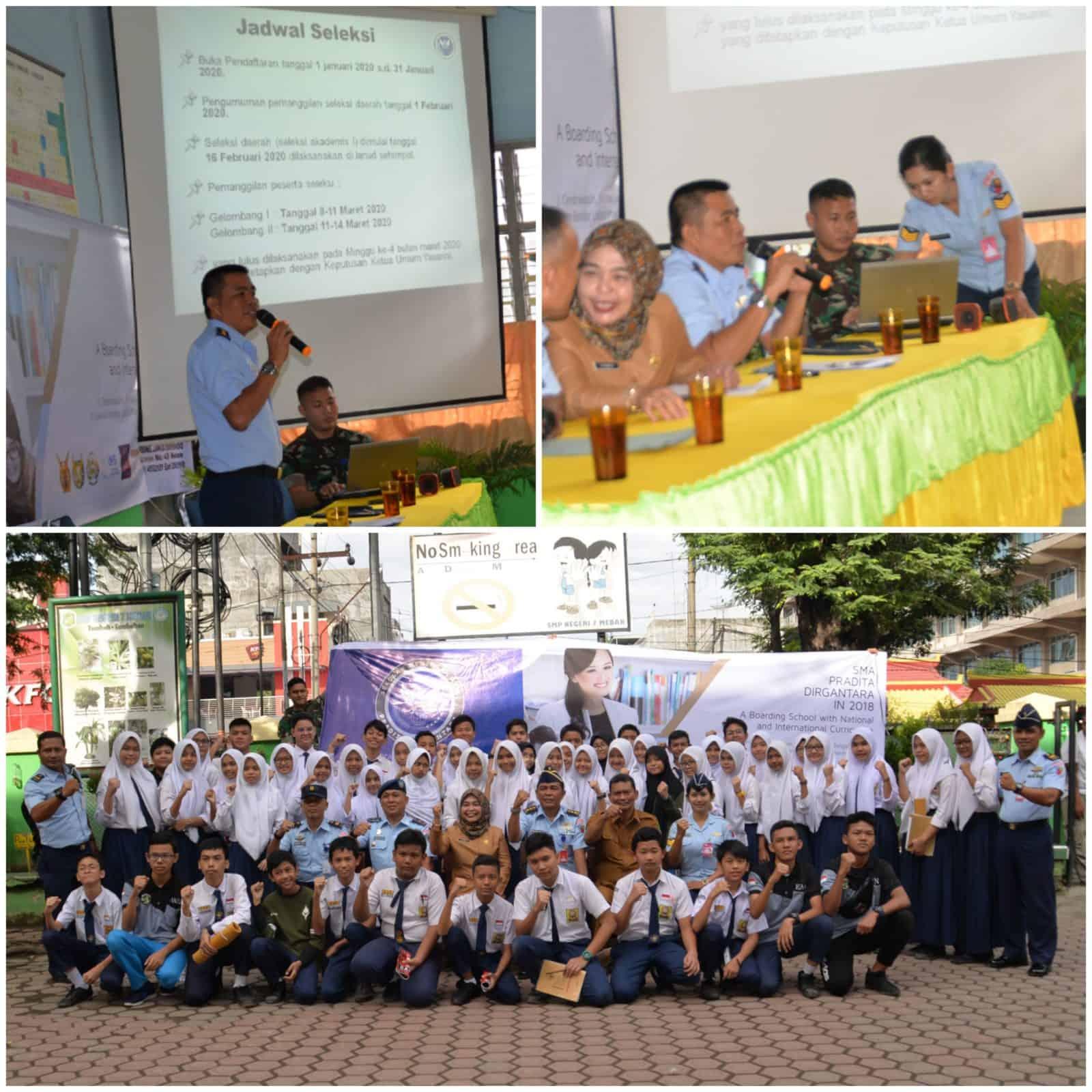 Lanud Soewondo Sosialisasikan SMA Pradita Dirgantara Di SMPN 7 Medan