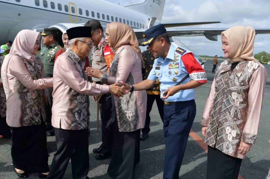 Komandan Lanud Sjamsudin Noor Sambut Kedatangan Wakil Presiden RI