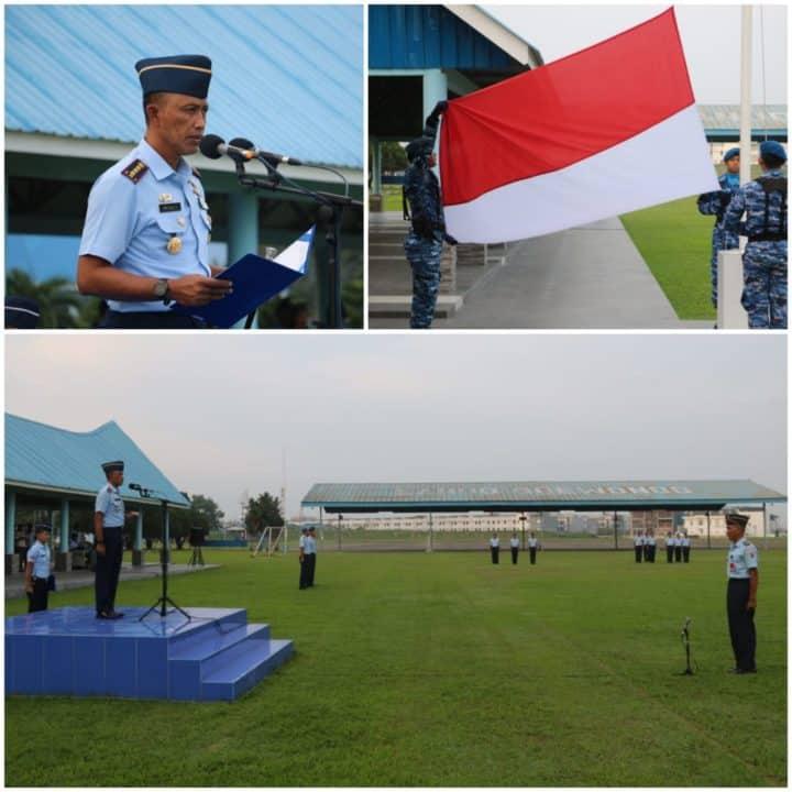 Upacara Bendera Mingguan di Lanud Soewondo, Danlanud Ajak Seluruh Anggota Utamakan Ibadah