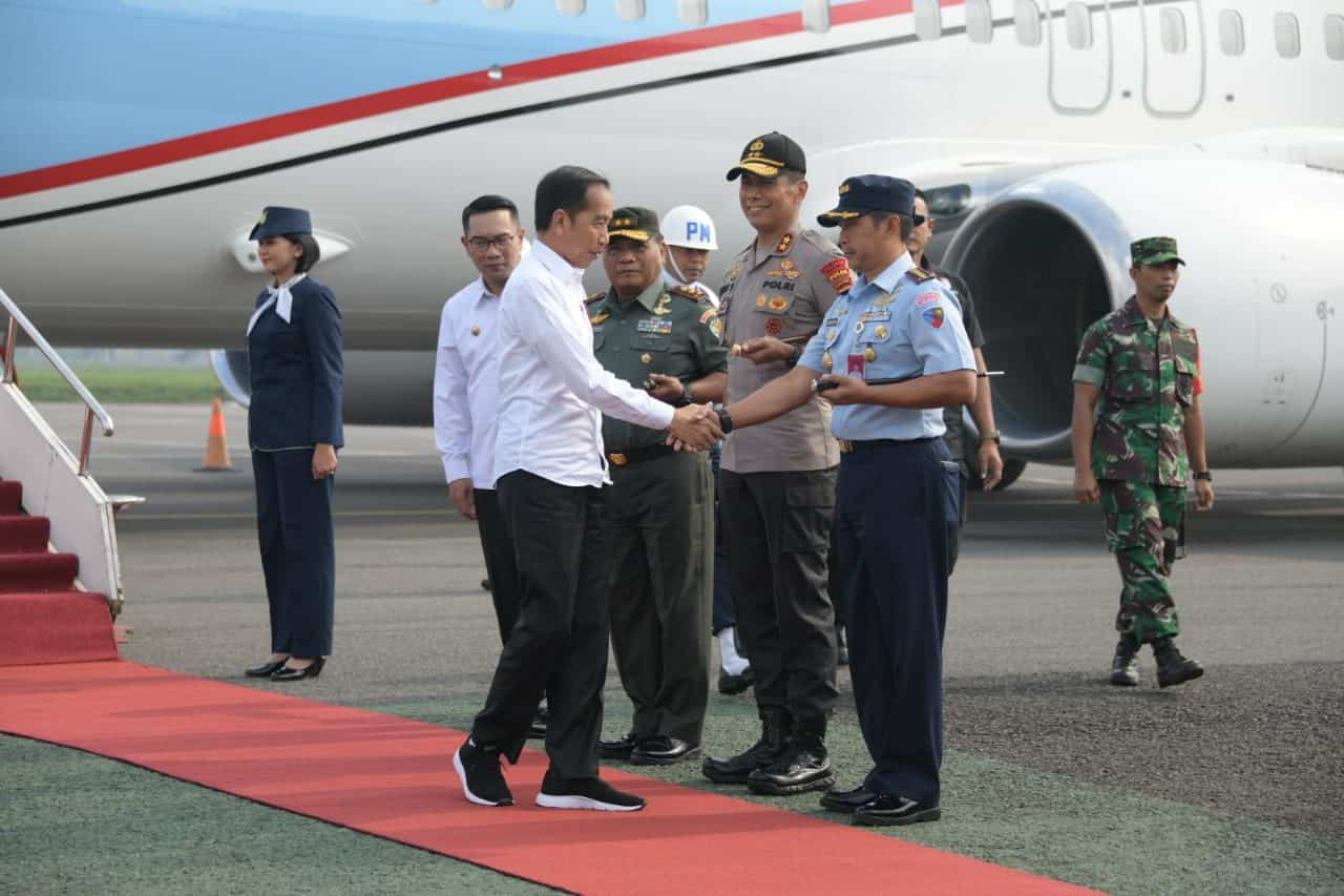 Danlanud Husein Sastranegara Sambut Kunjungan Presiden Joko Widodo