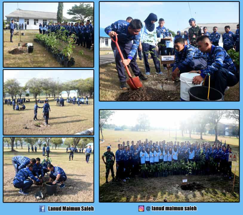 Komandan, PIA AG Cab 16/D-1 beserta seluruh anggota Lanud Maimun Saleh Menanam dan Melestarikan Pohon Produktif.