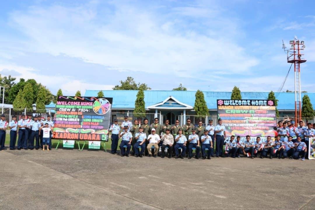25 Crew Skadron 5 dan Skadron 33 Misi Wuhan Tiba di Lanud Sultan Hasanuddin