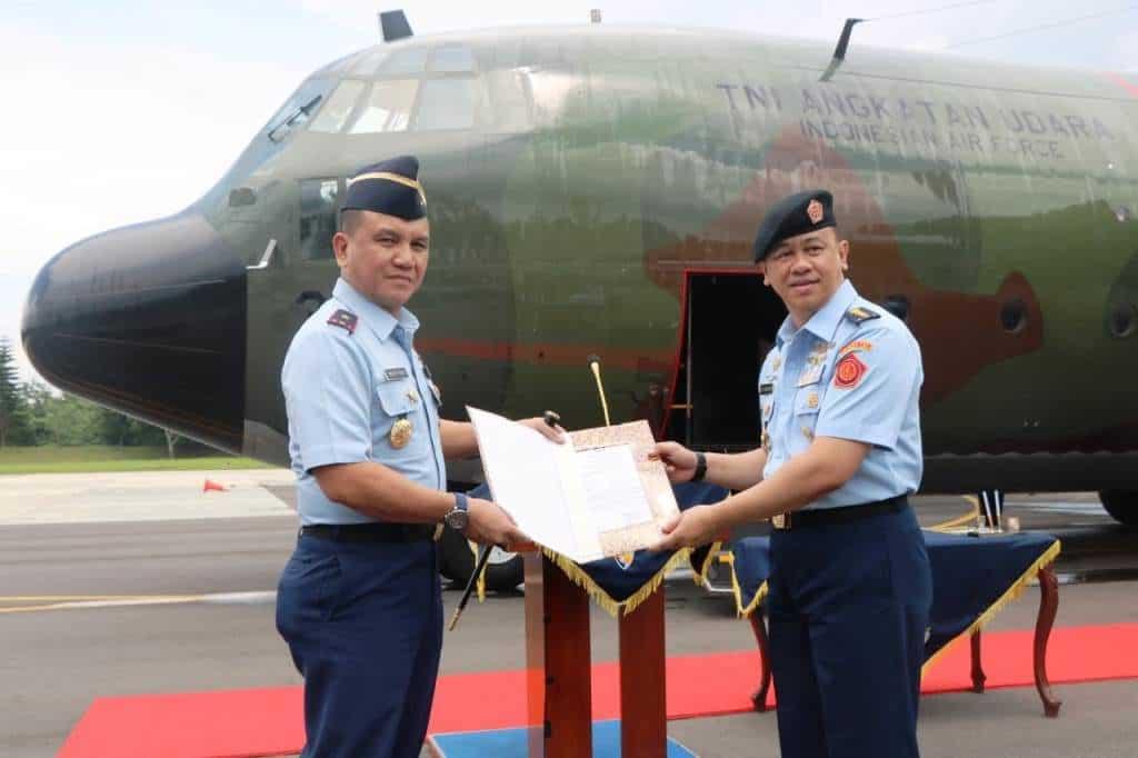 Kedatangan Pesawat Hercules C-130 A-1338 dari Australia di Lanud Abd Saleh