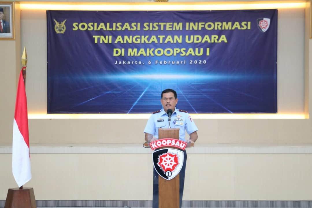 Bangun Sistem Informasi TNI AU, Kadisinfolahta hari Ini berikan sosialisasidi Koopsau I