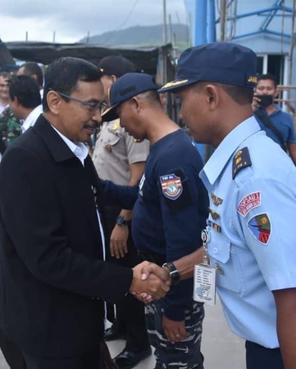 Pejabat Lanud Maimun Saleh menyambut kunjungan tim Wantannas di pelabuhan balohan Sabang.