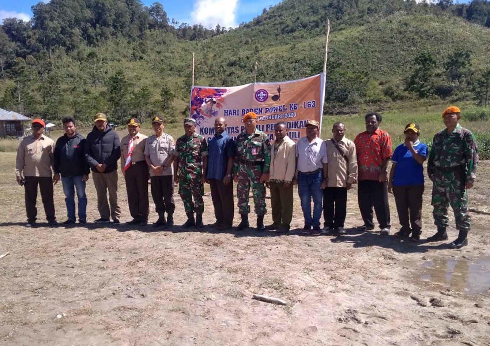 Satgas Pamrahwan Yonko 462 Paskhas Pos Oksibil Menghadiri Acara Peringatan Baden Powell ke-163 di Kab. Pegunungan Bintang