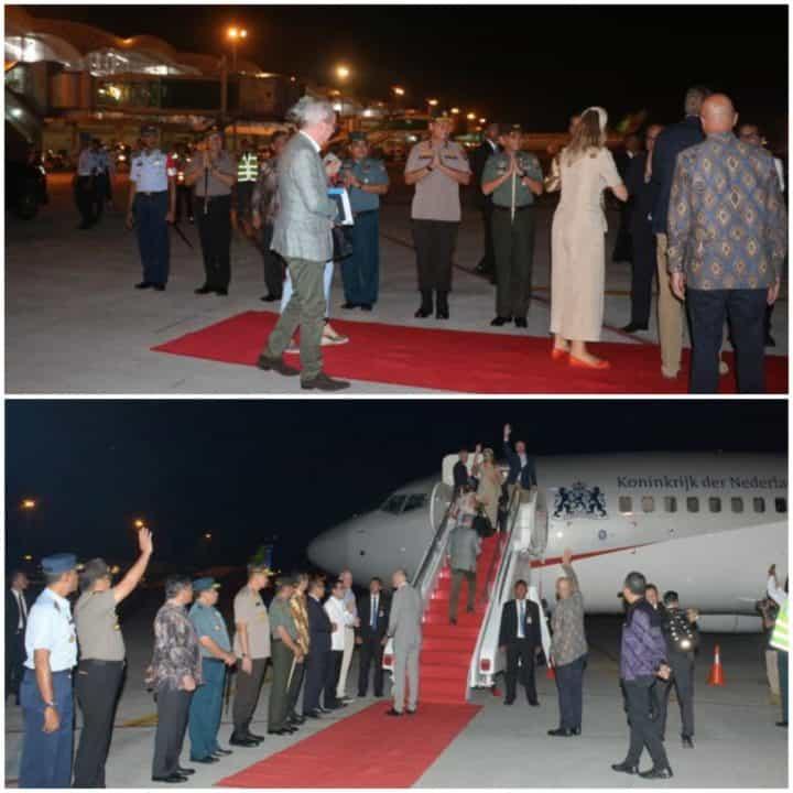 Danlanud Soewondo Sambut Raja Belanda Willem Alexander dan Ratu Belanda Maxima beserta rombongan di Bandara Internasional Kualanamu
