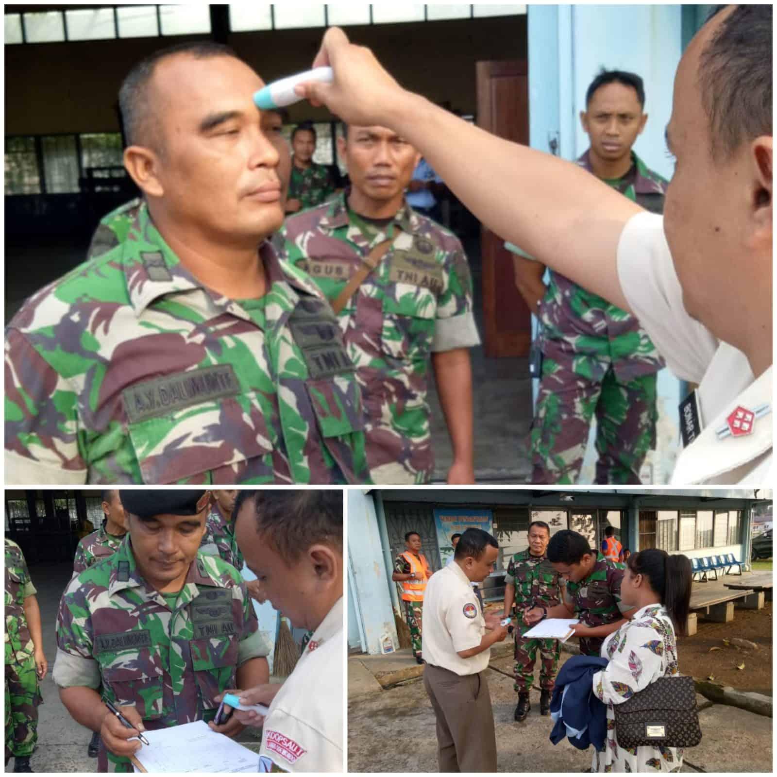 Waspada Penyebaran Covid-19, Personel Kesehatan Lanud Soewondo Cek Kesehatan Calon Penumpang Pesawat TNI AU