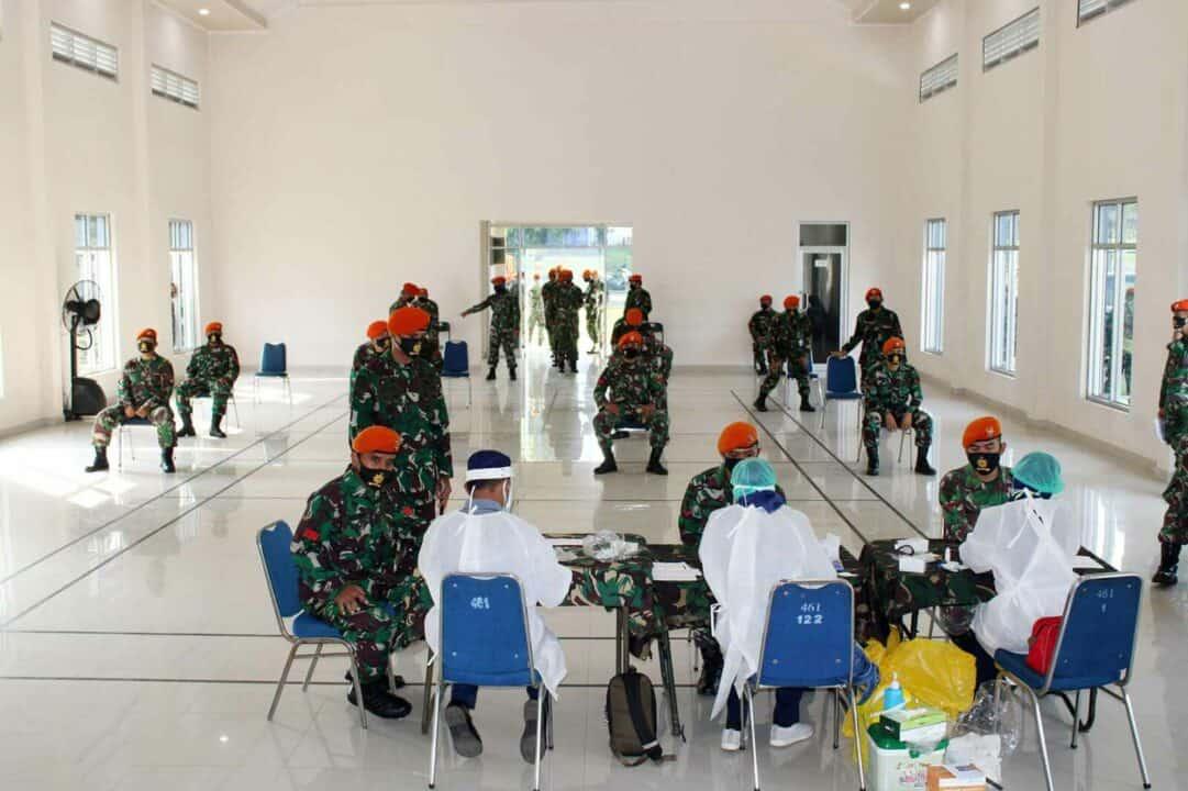 Batalyon Komando 461 Paskhas Melaksanakan Rapid Test Covid-19
