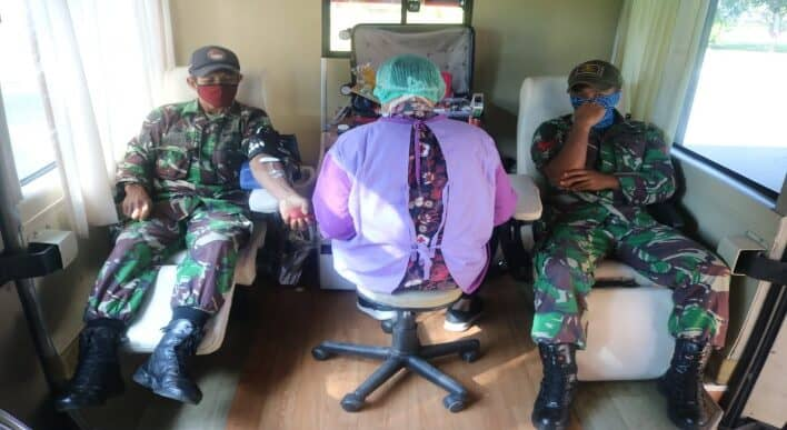 Detasemen Matra 2 Paskhas turut serta kegiatan donor darah dalam rangka Peringatan ke-74 HUT TNI AU untuk membantu PMI menghadapi Pandem Covid-19.