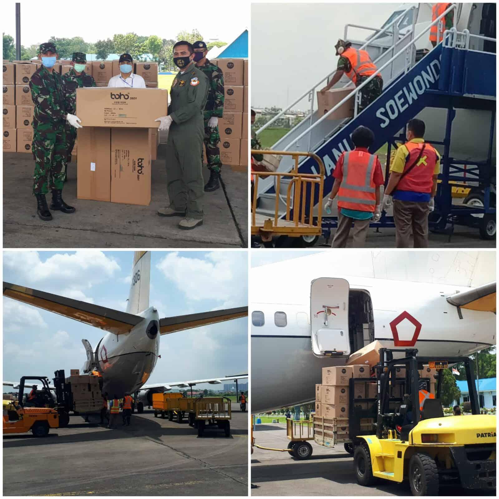 Lanud Soewondo Kembali Bantu Distribusikan 8.000 APD Tahap 3 Dari Kemenkes RI Untuk Provinsi Sumut