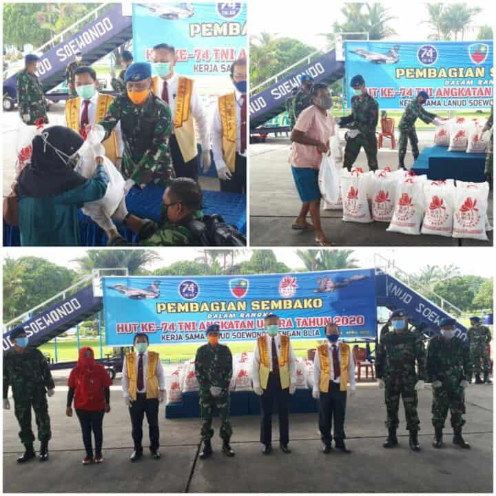 Lanud Soewondo Bersama BLIA Salurkan Paket Sembako Kepada Warga Terdampak Covid-19