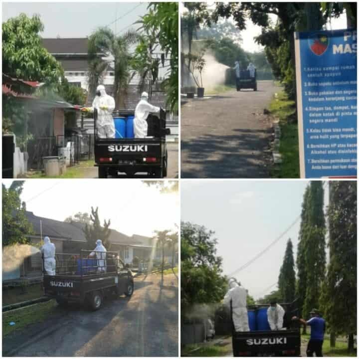 Memutus Rantai Penyebaran Covid-19, Komplek Rumdis TNI AU di Medan Kembali Disemprot Disinfektan