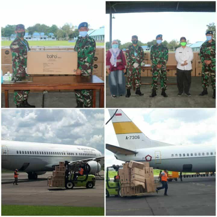 Bantuan APD Percepatan Penanganan Covid-19 Untuk Sumatera Utara Tahap 4 Tiba di Lanud Soewondo