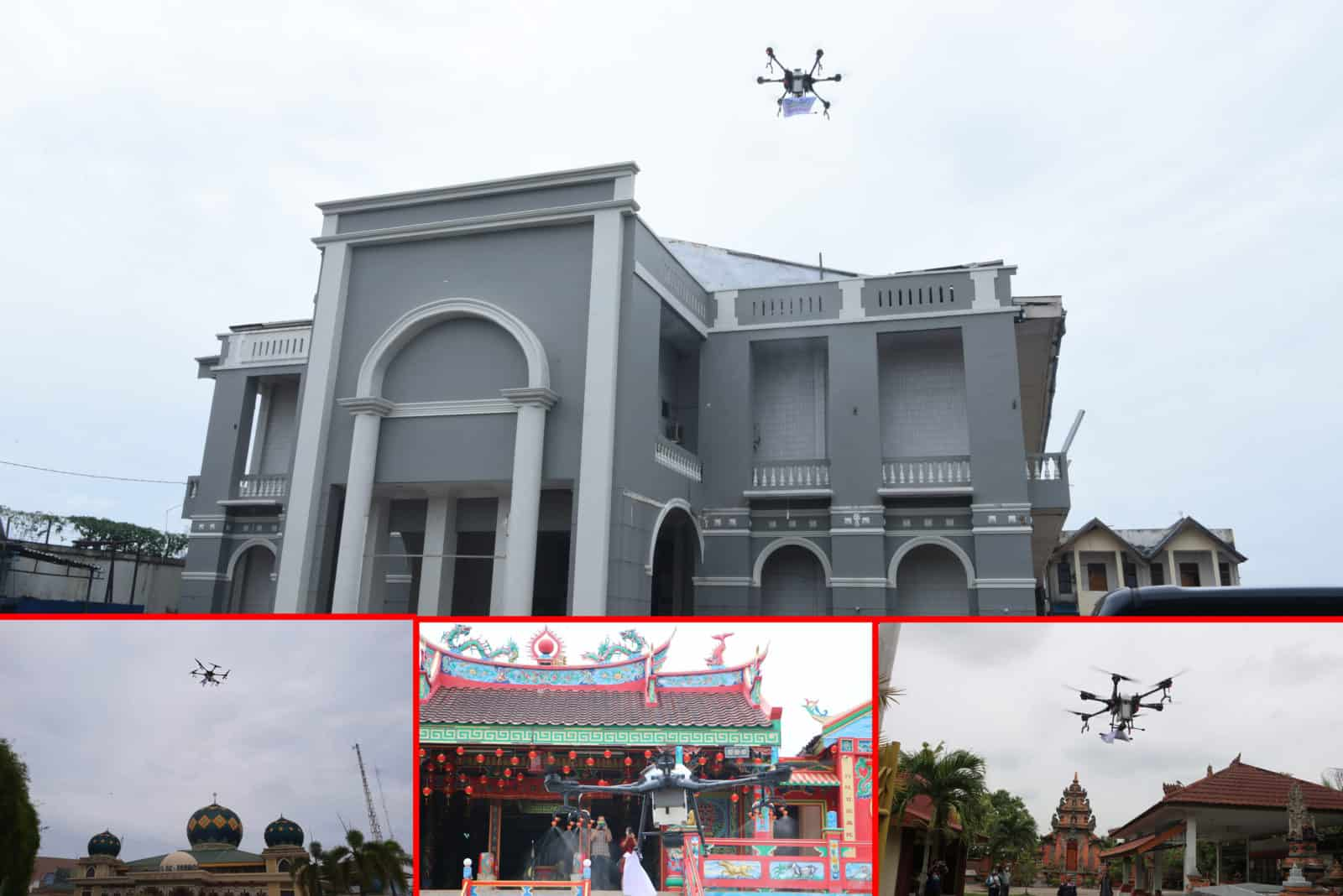 Lanud Rsn Gunakan Drone Semprot Rumah Ibadah Cegah Covid-19