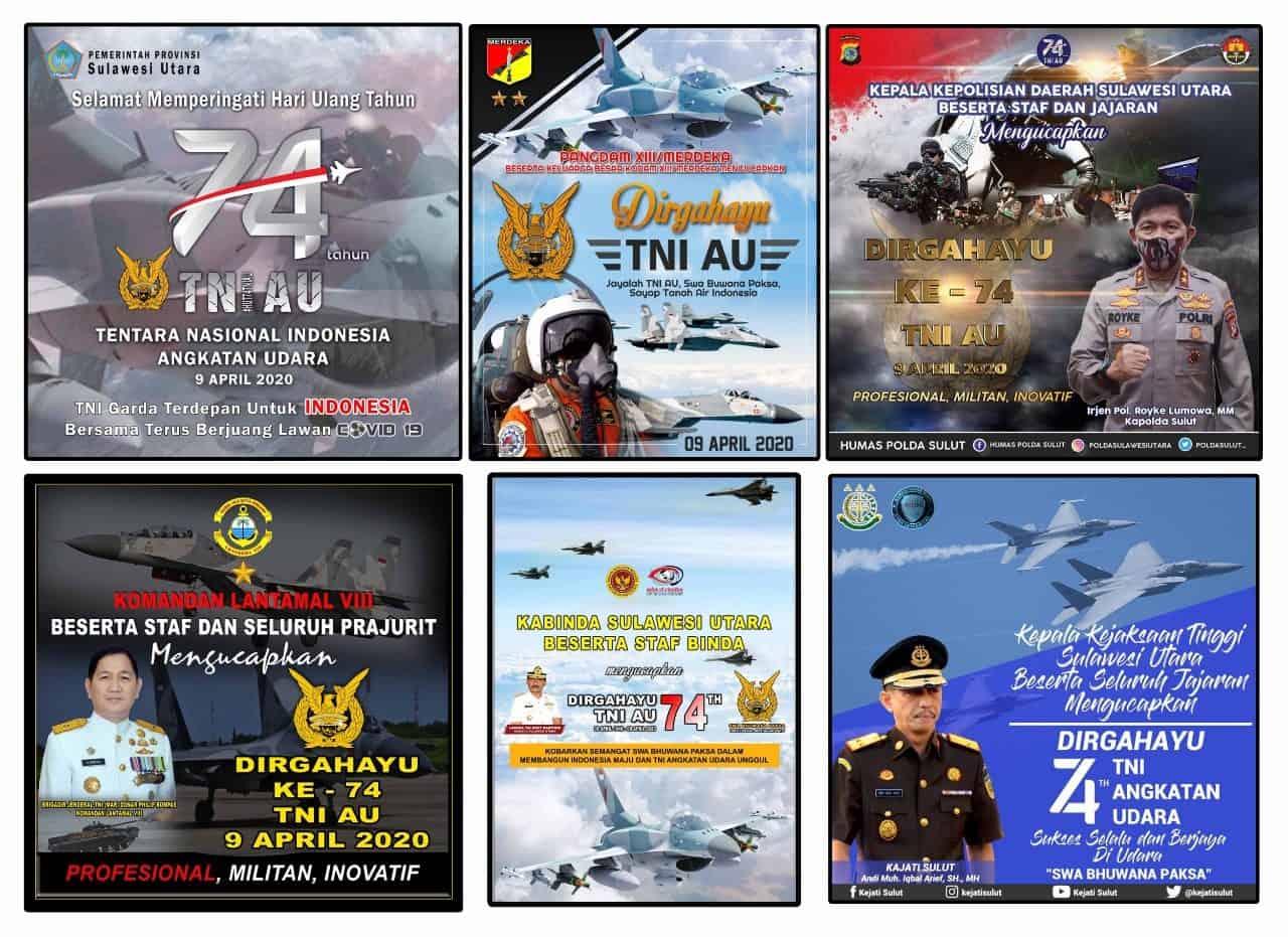 Ucapan Selamat Hut TNI AU ke 74 Dari Forkopimda Sulut