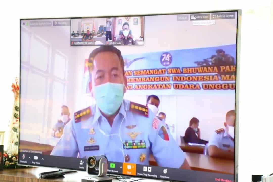 Bahas Permasalahan Covid-19 Danlanud Sam Ratulangi Vicon Dengan Gubernur Sulut