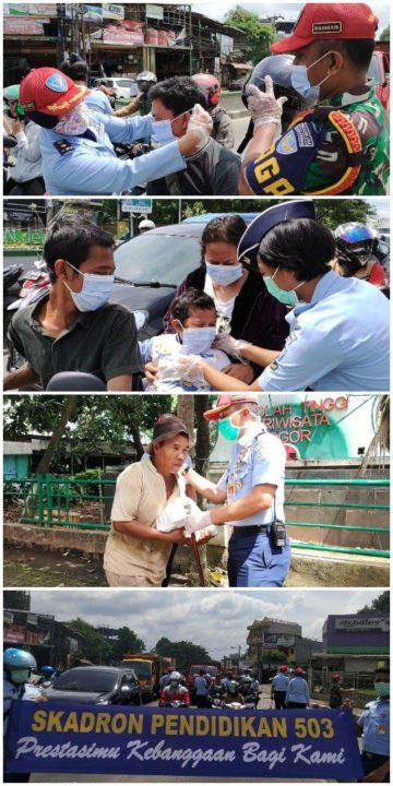 Kepedulian Skadik 503 Wingdikum Untuk masyarakat Bogor atasi dampak virus corona