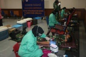 Lanud Atang Sendjaja Selenggarakan Donor Darah dalam Rangka Memperingati HUT ke-74 TNI AU