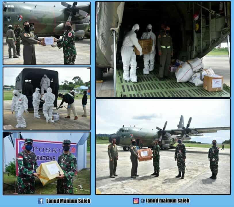 Pangkalan TNI Angkatan Udara Maimun Saleh (Lanud Mus) Dapatkan Bantuan Alat Pelindung Diri (APD) dan Rapid Test Cegah Covid-19.