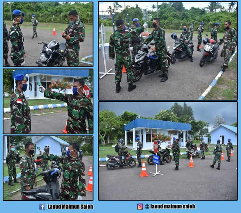 Pangkalan TNI AU Maimun Saleh Gelar Gaktib Penggunaan Masker Dan Pengukuran Suhu Tubuh, Cegah Covid-19.