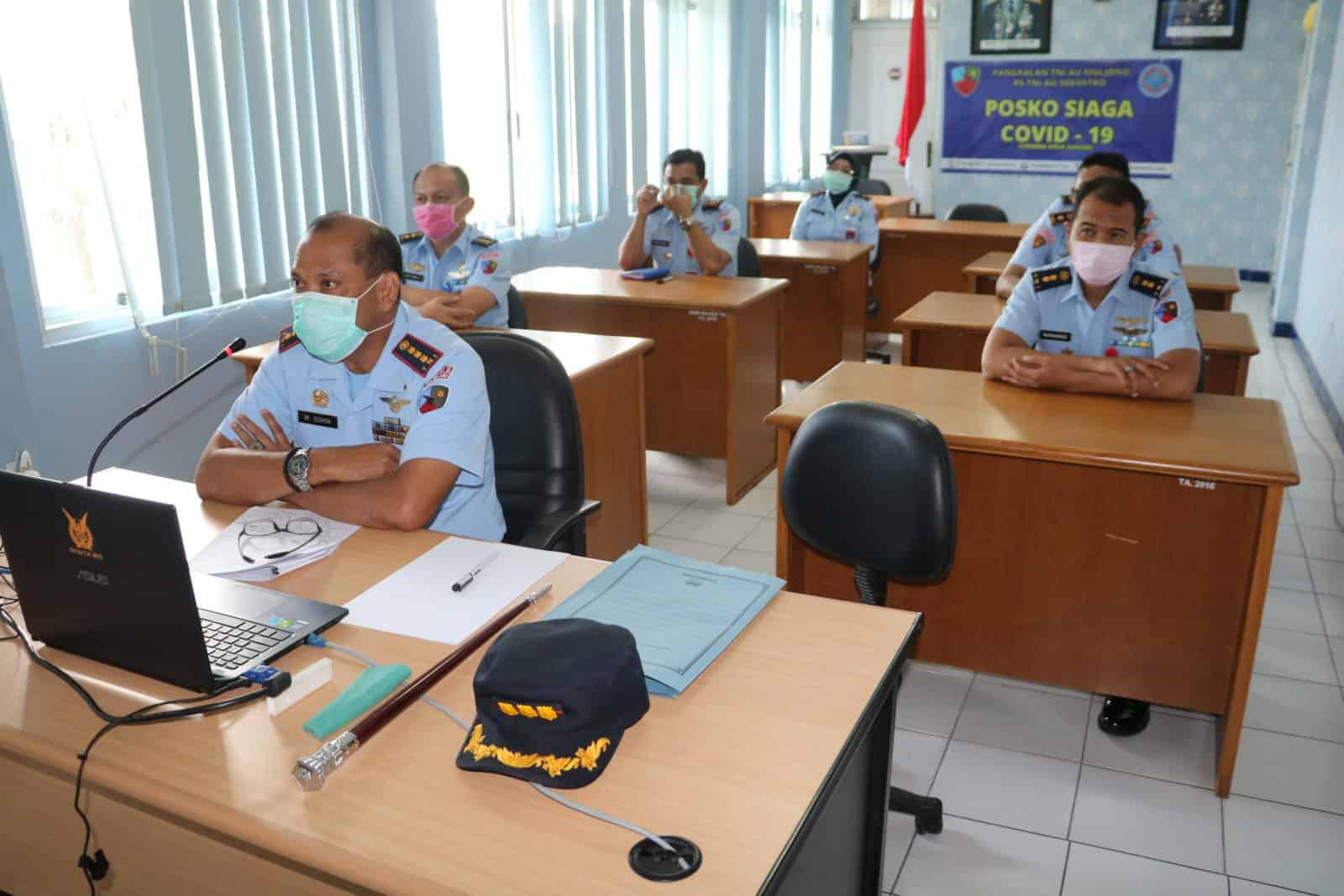 Komandan Lanud Muljono Kolonel Pnb M. Somin, S. Sos laksanakan Vicon bersama Lanud jajaran Koopsau II