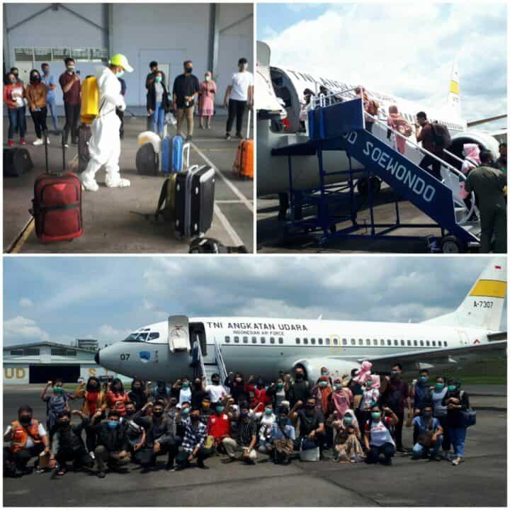 Menggunakan Pesawat TNI AU, Lanud Soewondo Berangkatkan 38 Orang Relawan Medis Dari Sumut ke Wisma Atlet Jakarta