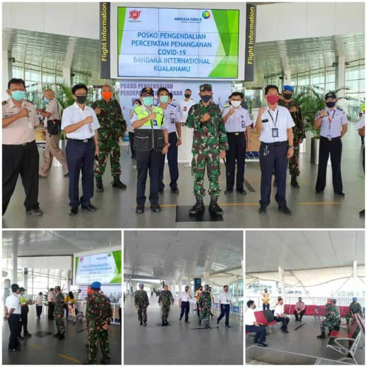 Danlanud Soewondo Bersama Stake Holder Tinjau Posko Pengendalian Percepatan Penanganan Covid-19 di Bandara Kualanamu