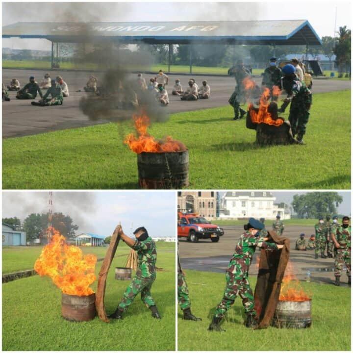 Personel Lanud Soewondo Laksanakan Latihan Pemadam Kebakaran