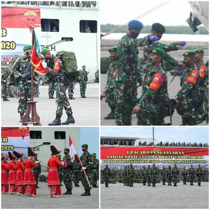 Danlanud Soewondo Hadiri Upacara Pengantaran Yonif 125/Smb Tugas Operasi Pamtas RI-PNG Sektor Selatan