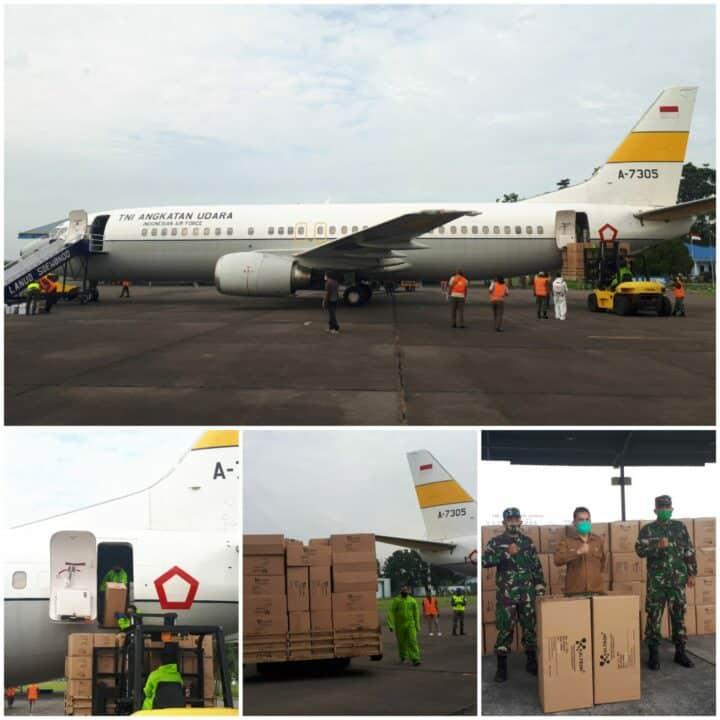 Pesawat TNI AU Kembali Distribusikan 6300 APD Ke Provinsi Sumut Tahap Kedelapan Tiba Di Lanud Soewondo